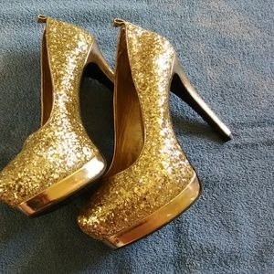 Mossimo gold sparkle heels